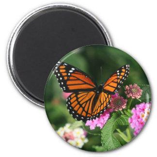 Monarch Butterfly on Lantana Flower 6 Cm Round Magnet