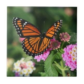 Monarch Butterfly on Lantana Flowers.Ceramic  Tile