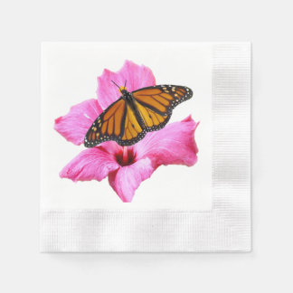 Monarch butterfly on pink Hibiscus flower Disposable Napkins