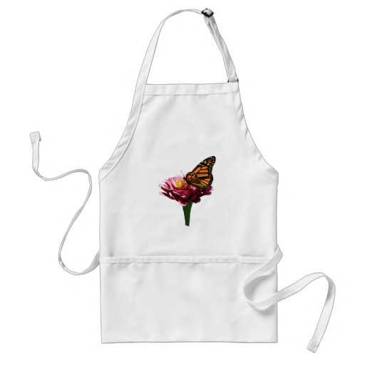 Monarch Butterfly on Pink Zinnia Apron