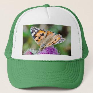 Monarch Butterfly on Purple Aster Flower Trucker Hat