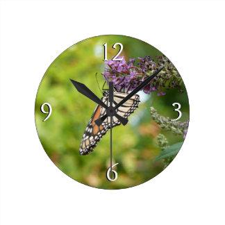 Monarch Butterfly on Purple Butterfly Bush Wall Clocks
