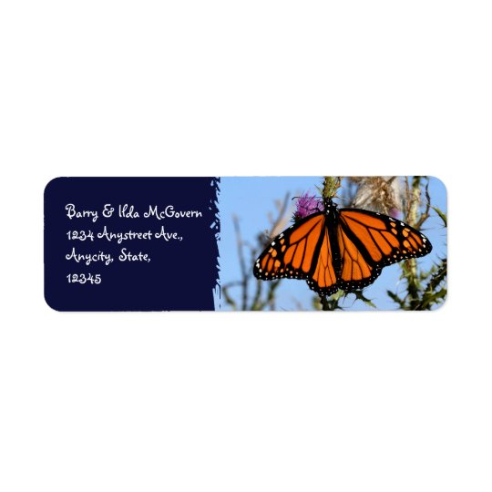 Monarch Butterfly on Purple Thistles Dark Blue Return Address Label