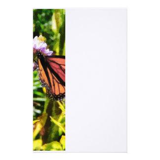 Monarch Butterfly on Purple Wildflower Stationery