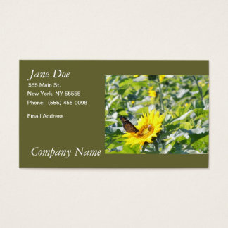 Monarch butterfly on sunflower business card