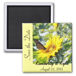 """Monarch butterfly on sunflower """"Save the Date"""" mag Square Magnet"""