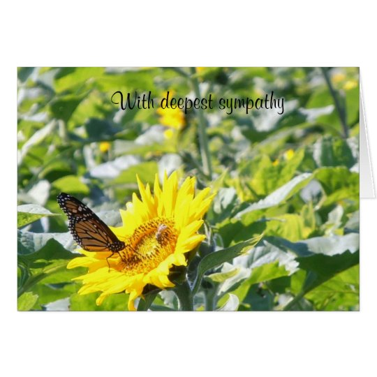 Monarch Butterfly on Sunflower Sympathy Card