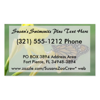 Monarch butterfly on yellow flower simple back pack of standard business cards