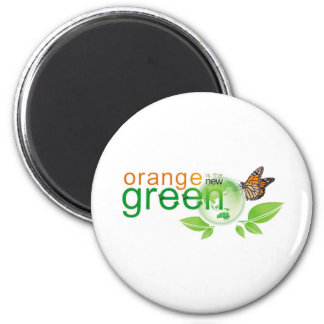 "Monarch Butterfly ""Orange is the New Green"" 6 Cm Round Magnet"