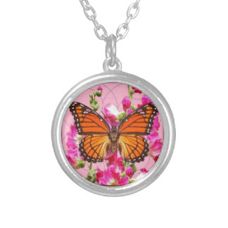 Monarch Butterfly Pink-Grey Floral Gifts  Sharles Silver Plated Necklace