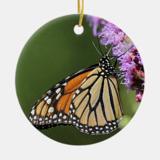 Monarch butterfly profile round ceramic decoration