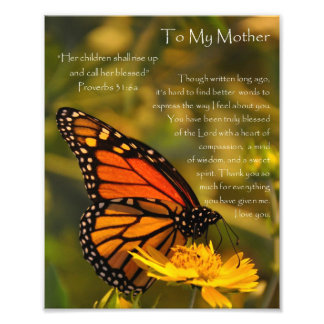 "Monarch Butterfly ""Proverbs 31:6"" Mother Thank You Photo Print"