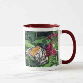 Monarch Butterfly, Red Flowers Mug