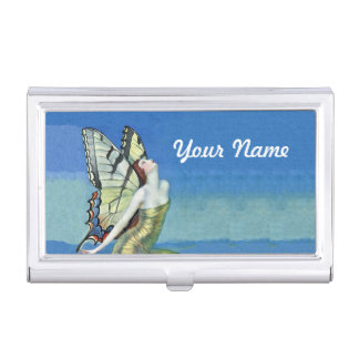 Monarch Butterfly Red Hair Vintage Fairy Business Card Holder