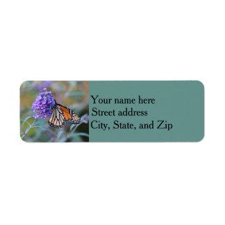 Monarch butterfly return address label