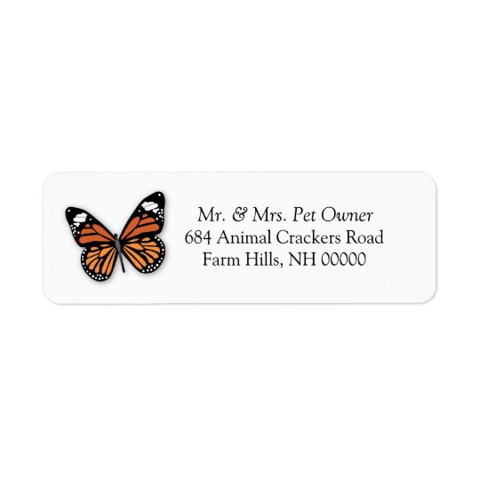 Monarch Butterfly Return Address Labels Stickers