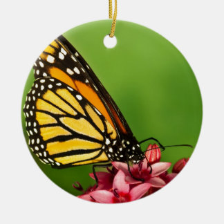 Monarch Butterfly  Side View Vibrant Photograph Round Ceramic Decoration