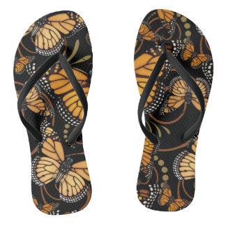Monarch Butterfly Swirl Flip Flops