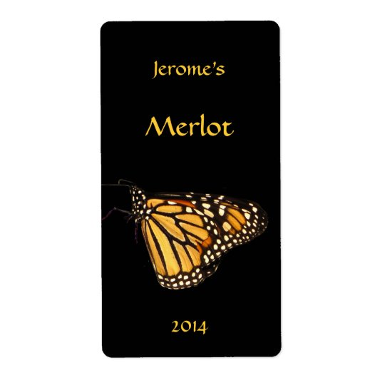 Monarch Butterfly Wine Label Shipping Label