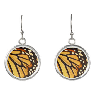 Monarch Butterfly Yellow Orange Black Abstract Earrings