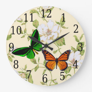 Monarch & Green Butterfly On Dogwood Flowers Clock