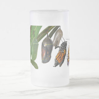 MONARCH LIFE CYCLE FROSTED GLASS MUG