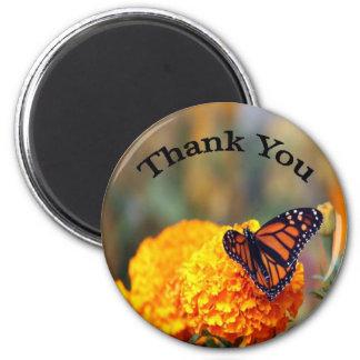 Monarch Marigold 6 Cm Round Magnet