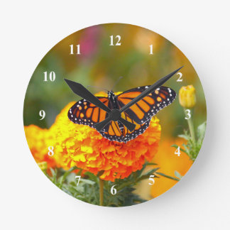 Monarch on a Marigold Clock