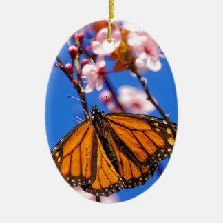 Monarch on Cherry Blossom Ceramic Oval Decoration