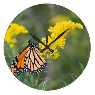 Monarch on Goldenrod Large Clock