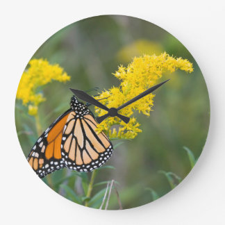 Monarch on Goldenrod Wall Clock