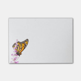 Monarch perched on lavender post-it® notes
