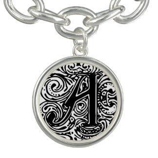 "Monarchia Black Letter ""A"" Charm Bracelet"