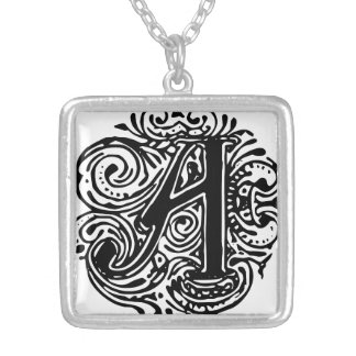 "Monarchia Black Letter ""A"" Square Necklace"