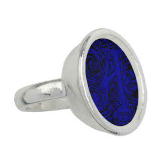 """Monarchia Blue Letter """"A"""" Ring Photo Ring"""