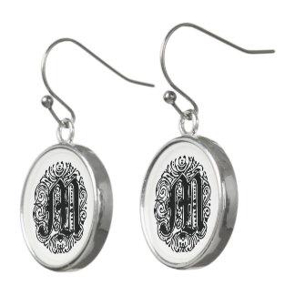 "Monarchia ""M"" Font Monogram Drop Earrings"