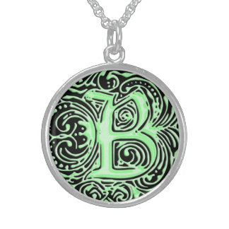 "Monarchia Raised Green ""B"" Round Necklace"