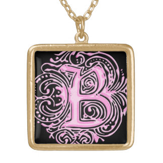 "Monarchia Raised Pink Letter ""B"" Sq Necklace Gold"