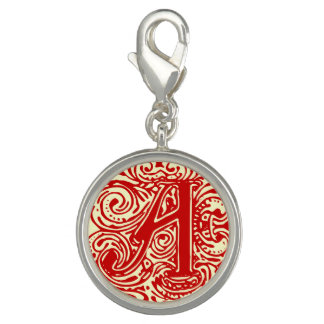 """Monarchia Red Letter """"A"""" Round Charm"""