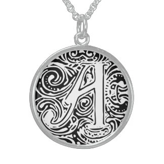 "Monarchia White Letter ""A"" Round Necklace"