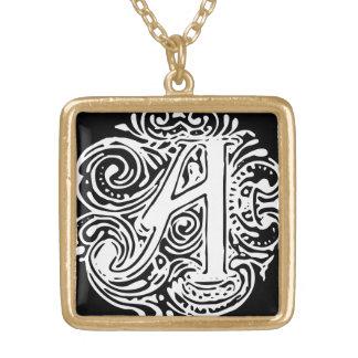 """Monarchia White Letter """"A"""" Square Necklace Gold"""