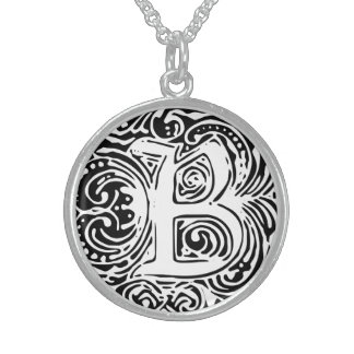 "Monarchia White Letter ""B"" Round Necklace"