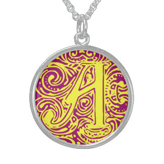"Monarchia Yellow Letter ""A"" Round Necklace"