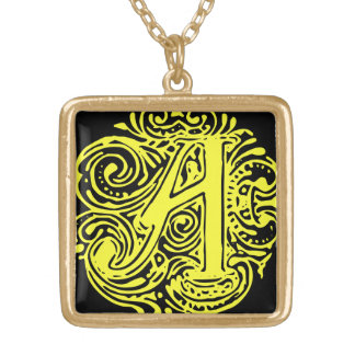 """Monarchia Yellow Letter """"A"""" Square Necklace Gold"""