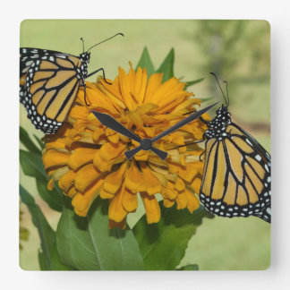 Monarchs & flower square acrylic wall clock