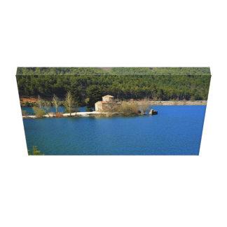 Monastery in the lake doxa, Greece Canvas Print
