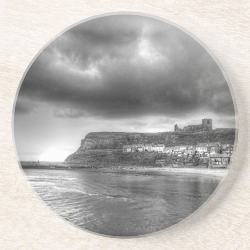 Monchrome Sweeping Storm Over The Abbey Drink Coasters
