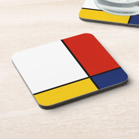 Mondrian Abstract Art Style Beverage Coasters