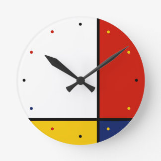 Mondrian Art Geometric Colors Round Clock