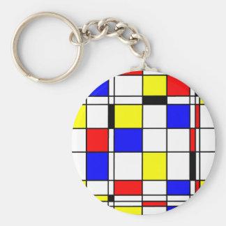 Mondrian art style basic round button key ring